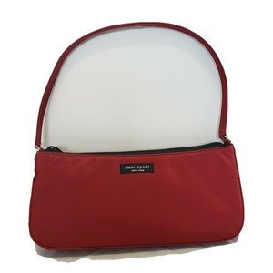Kate Spade NY Red Baguette Handbag Purse -Deep Red
